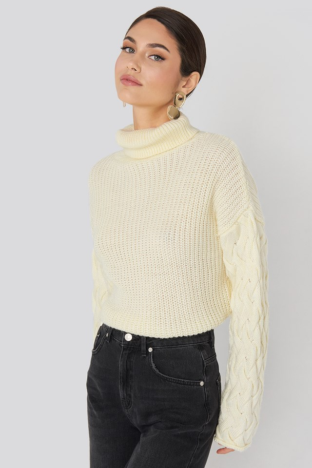 Cable Sleeve High Neck Sweater NA-KD Trend