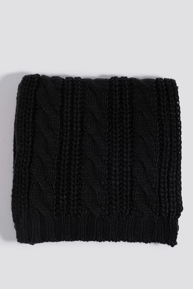 Cableknit Scarf Black