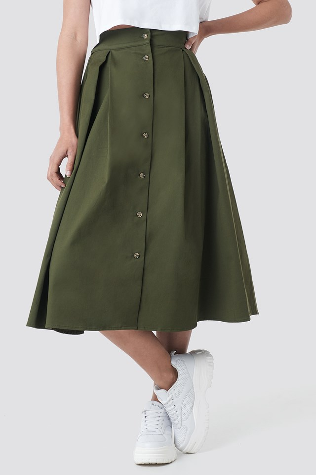 Cargo A-line Ankle Skirt Green