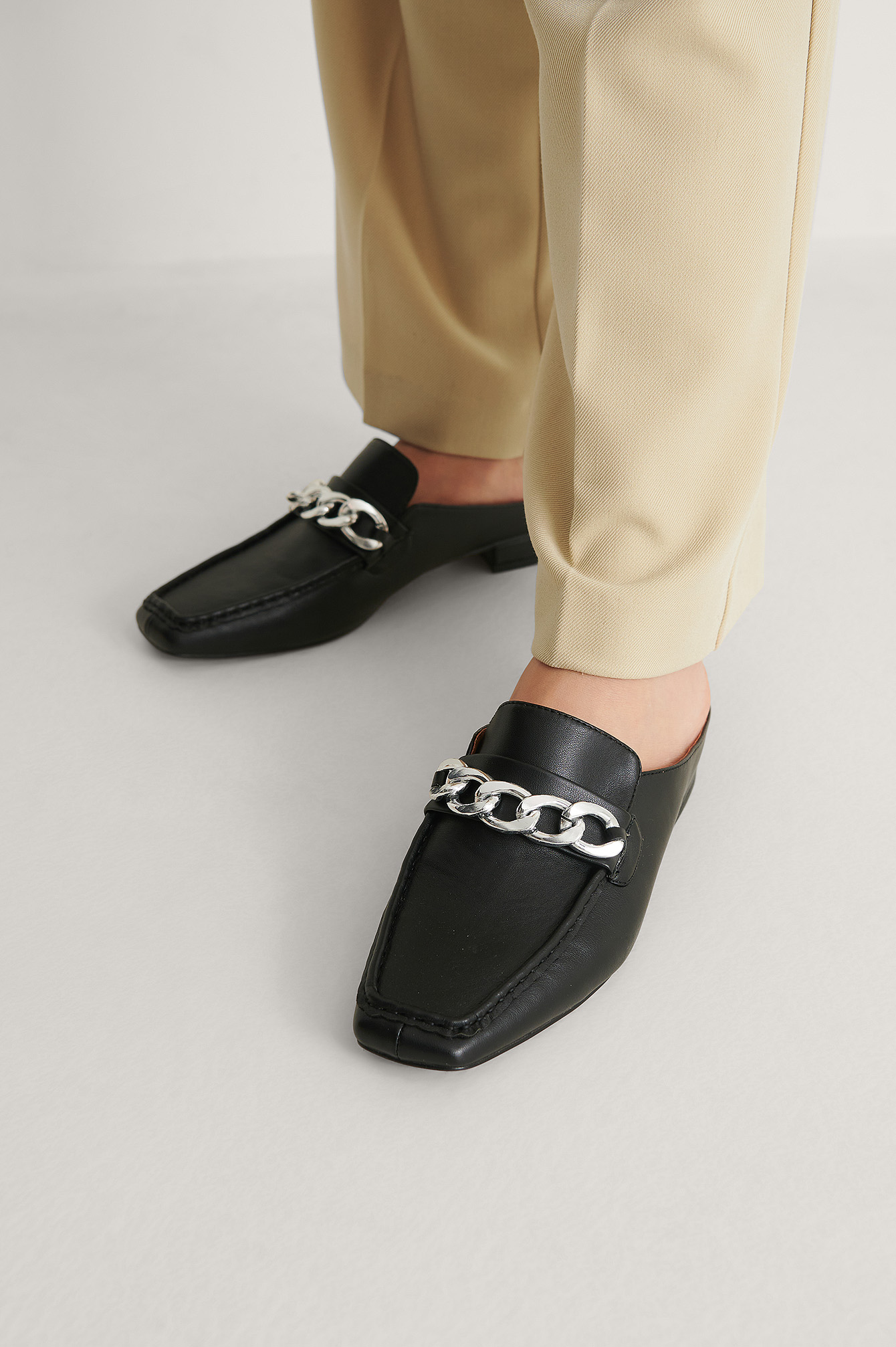 Black Chain Detail Slip In Loafers