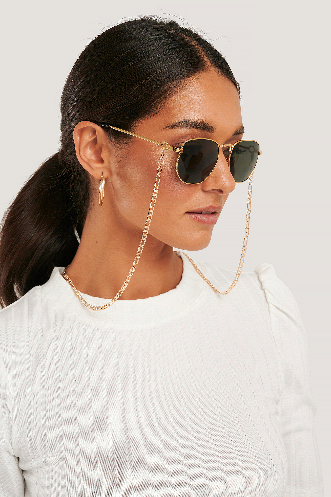 Gold Chain Detailed Metal Frame Sunglasses