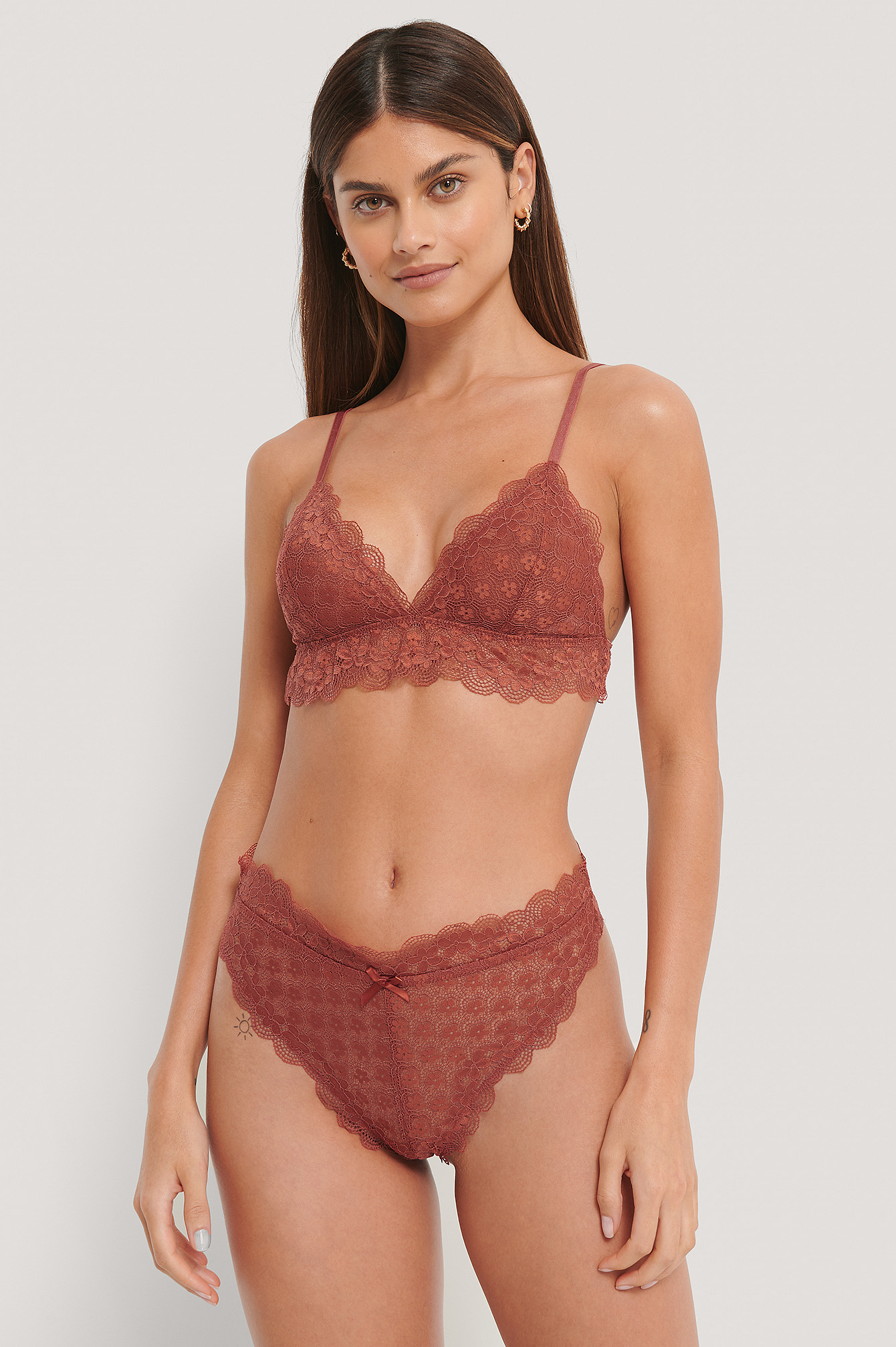 Dusty Red Chantilly Lace Cheeky Panty