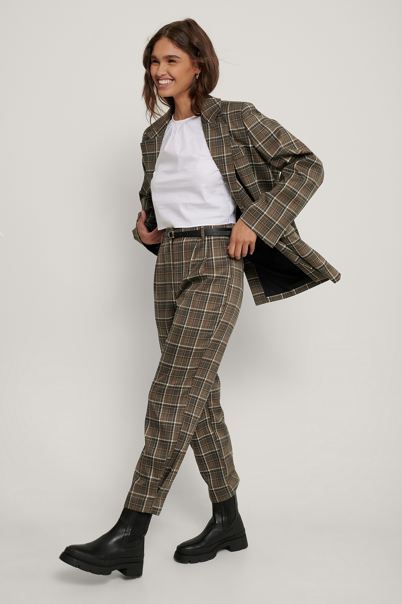 Brown Checked Ankle Suit Pants