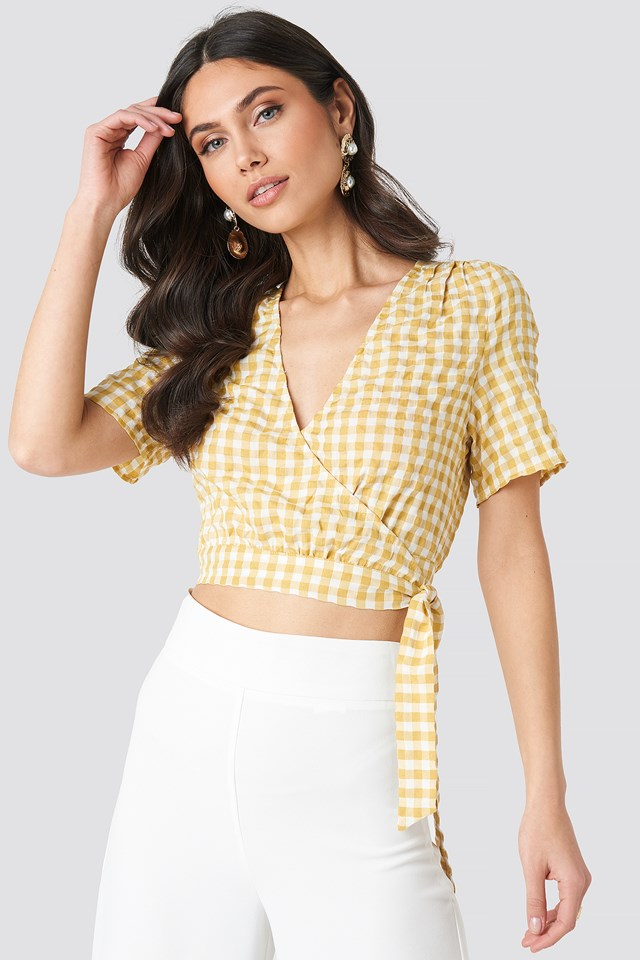 Checked Overlap Blouse NA-KD