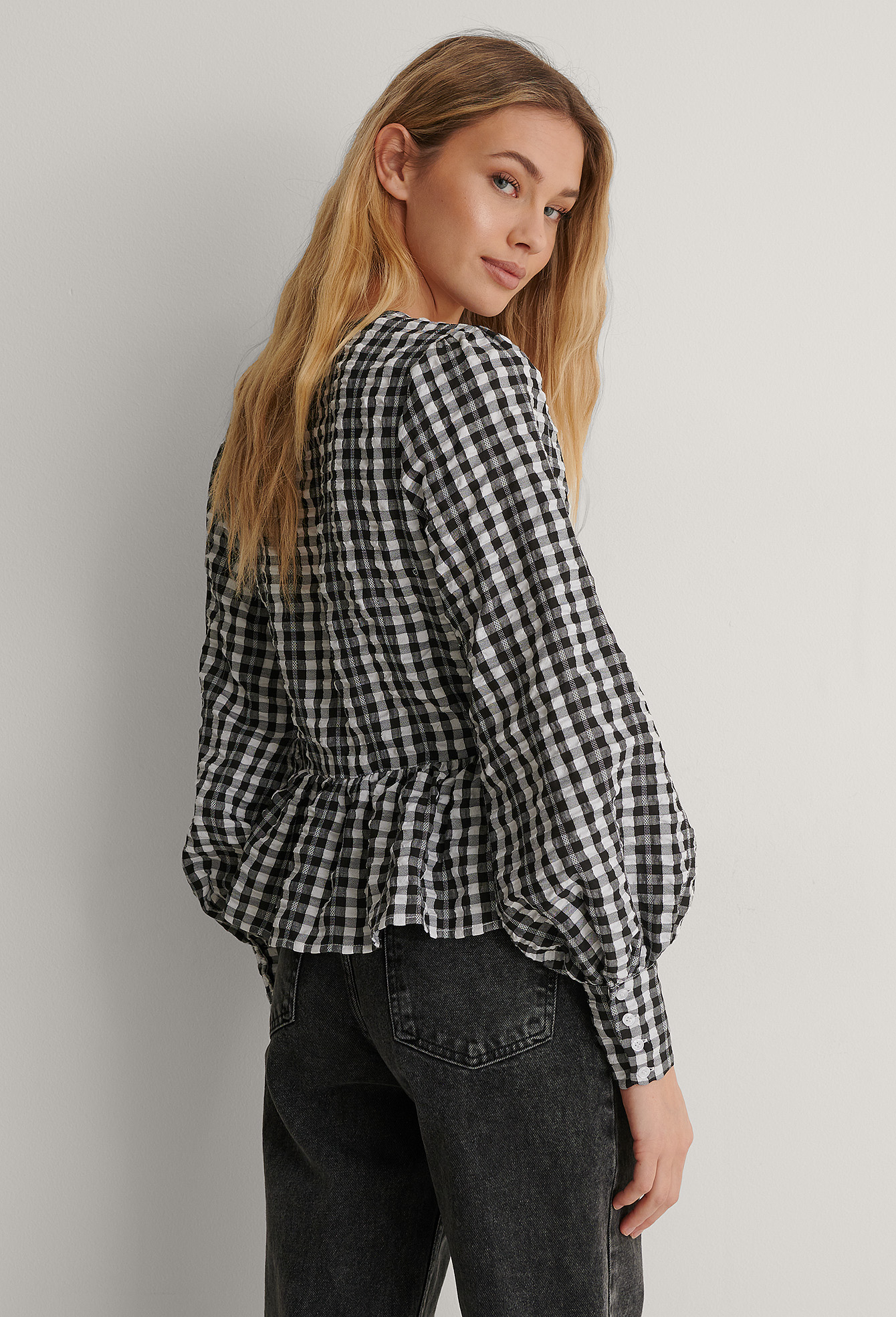Black Checkered Tie Side Blouse