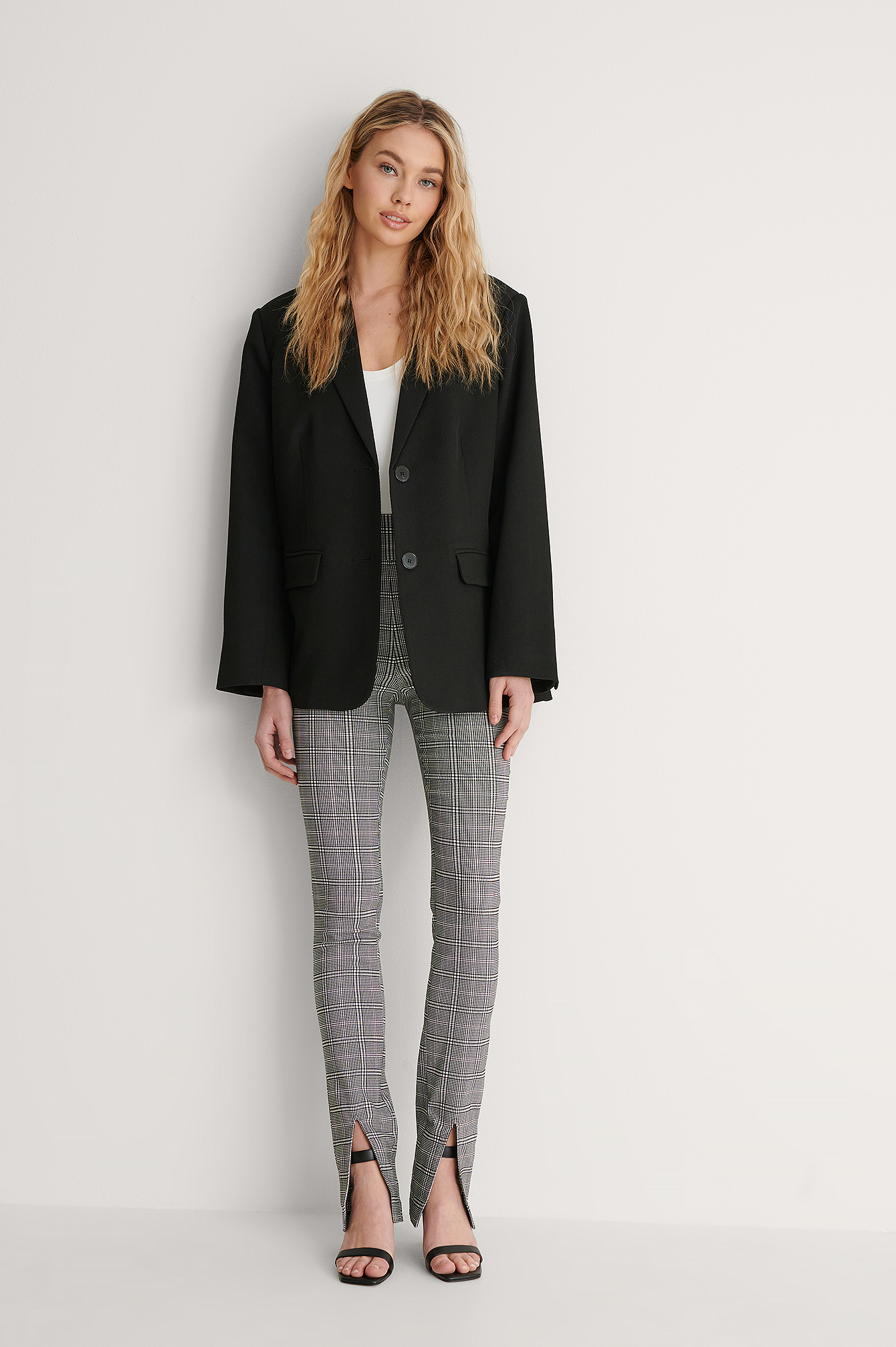 Checkered Checkered Front Slit Pants