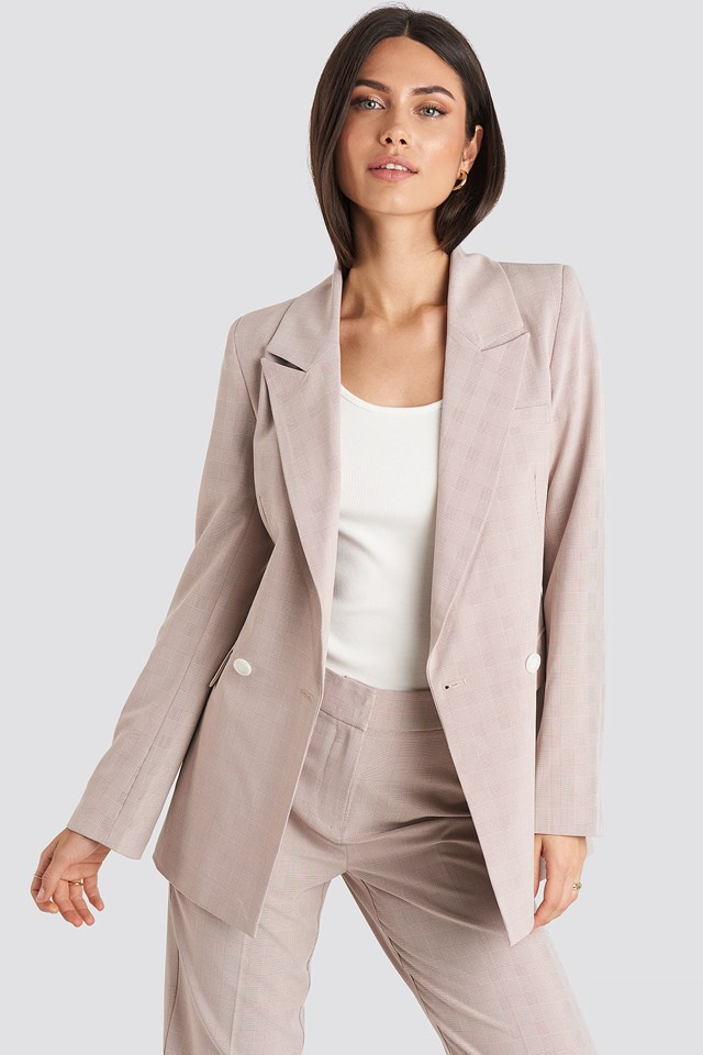 Checkered Double Breasted Blazer Dusty Pink