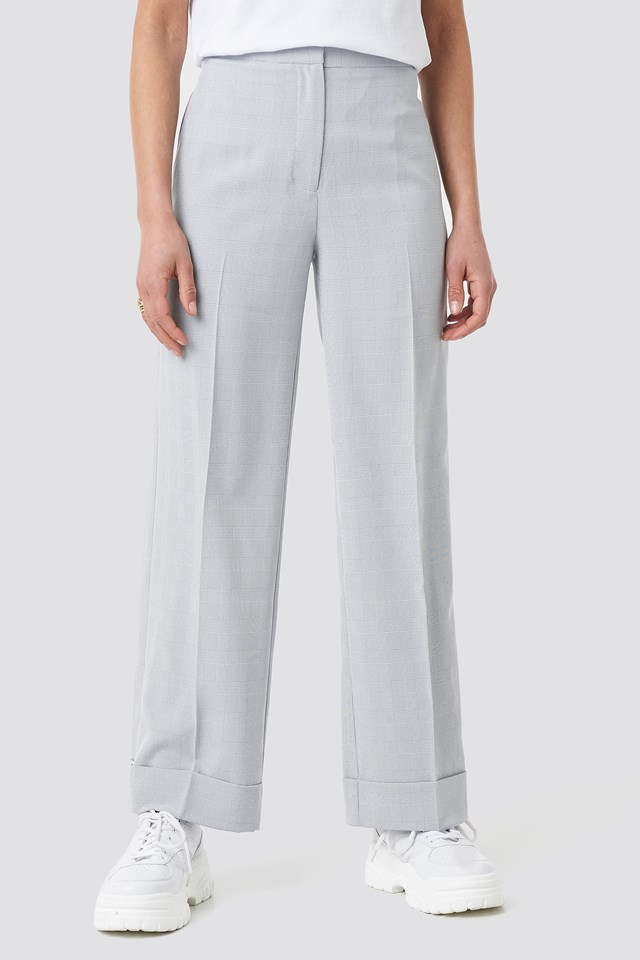 Checkered Folded Wide Suit Pants Light Blue