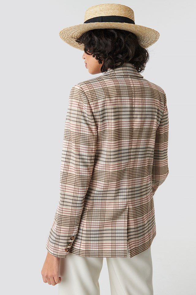 Checkered Straight Double Breasted Blazer Yellow Multi