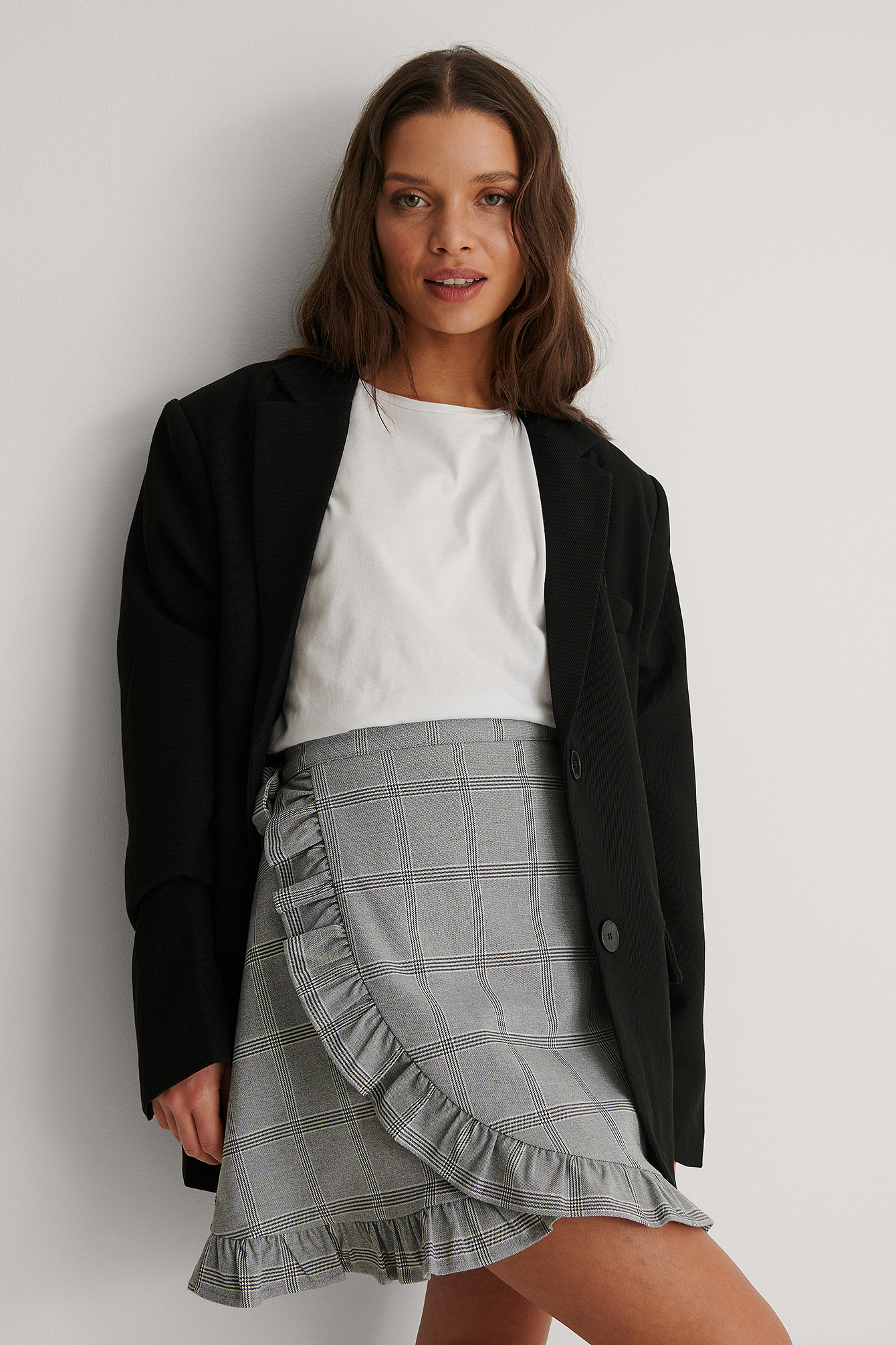 Checkered Checkered Wrap Mini Skirt
