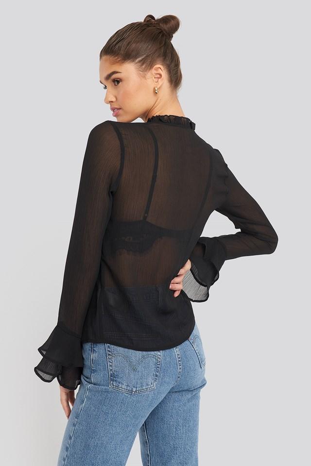 Chiffon Double Frill Sleeve Blouse Black