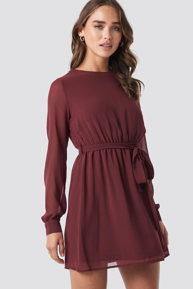 Chiffon Dress Dark Red