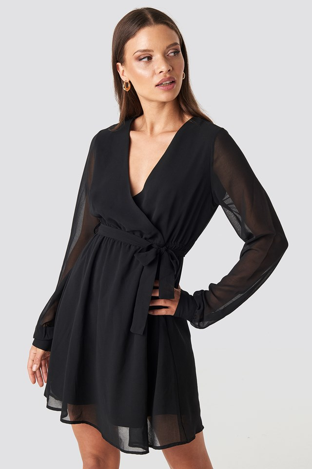 Chiffon Wrap Mini Dress Deep Black