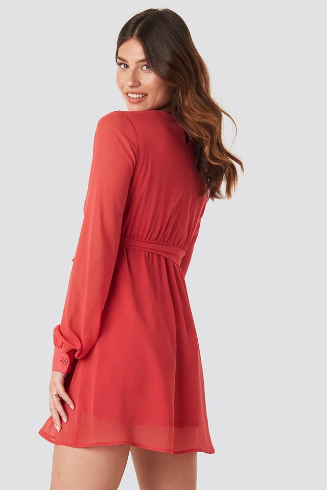 Chiffon Wrap Mini Dress Red