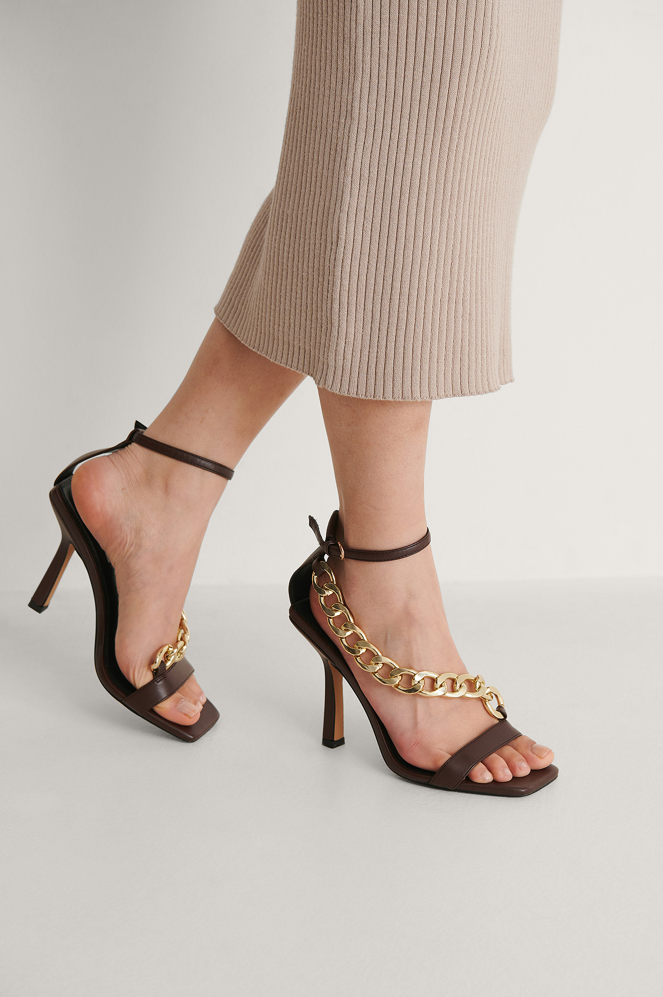 Dark Brown Chunky Chain High Heels