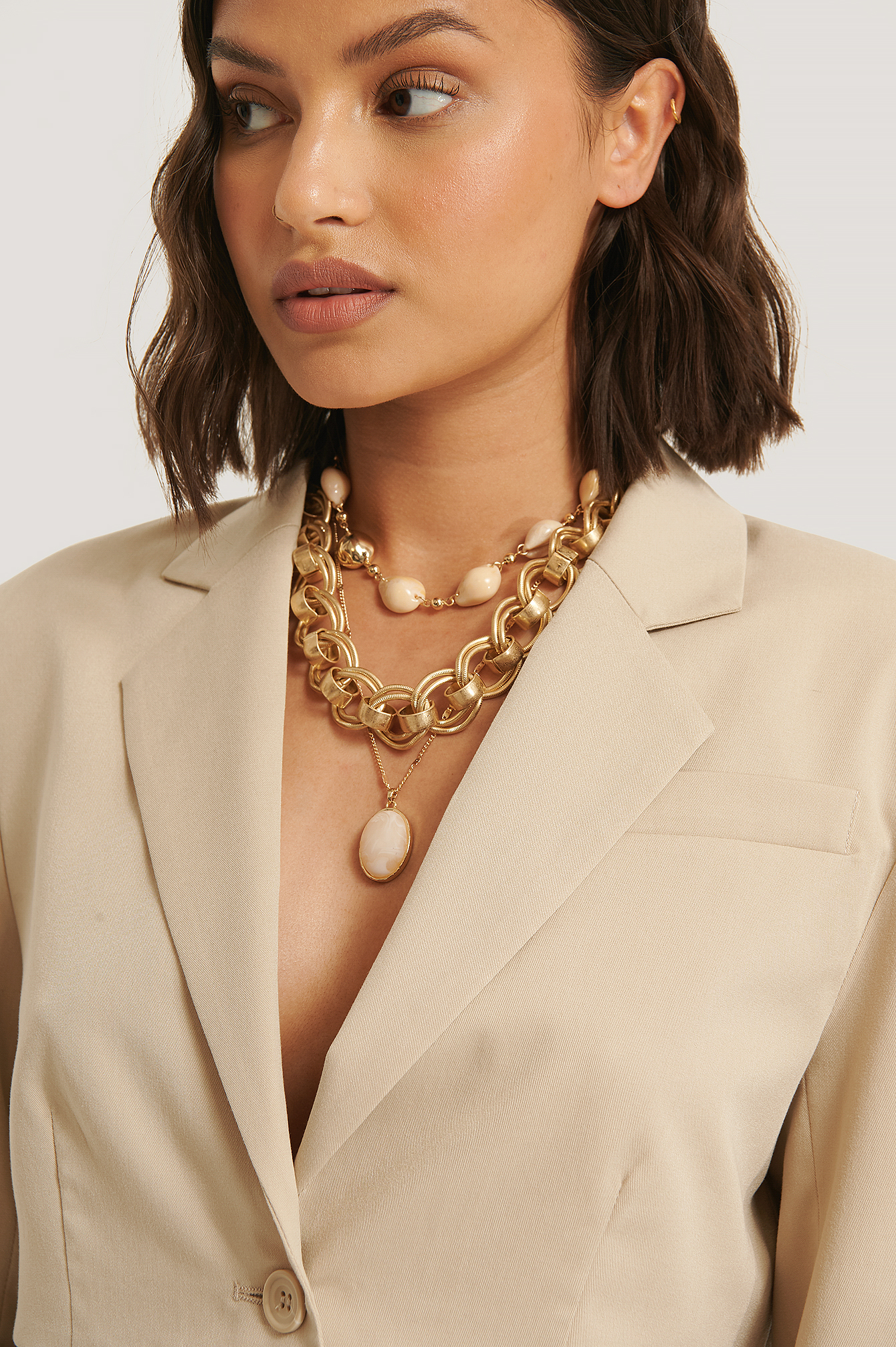 Gold Chunky Chain Shell Necklaces