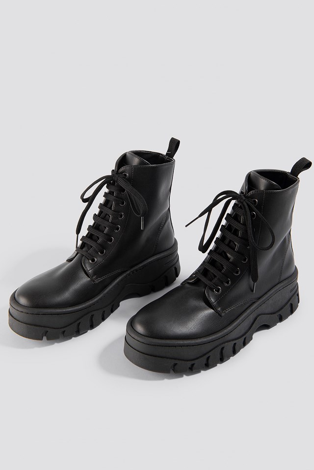 Chunky Profile Combat Boots Black
