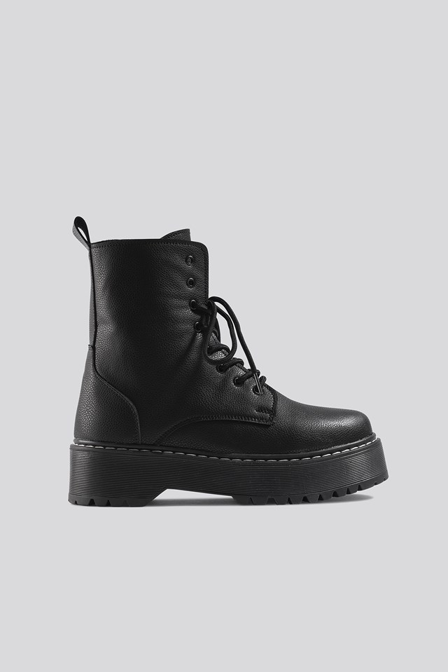 Chunky Rubber Sole Combat Boots NA-KD Shoes