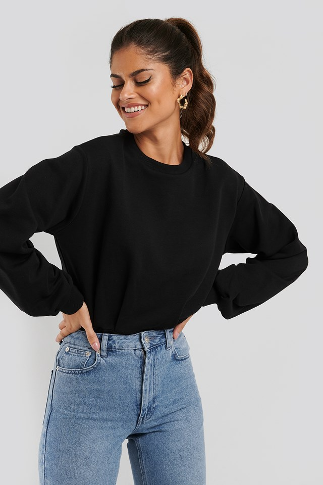 Cinched Waist Sweatshirt Bodysuit Black
