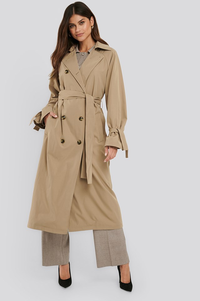 Classic Belted Trench Coat Beige