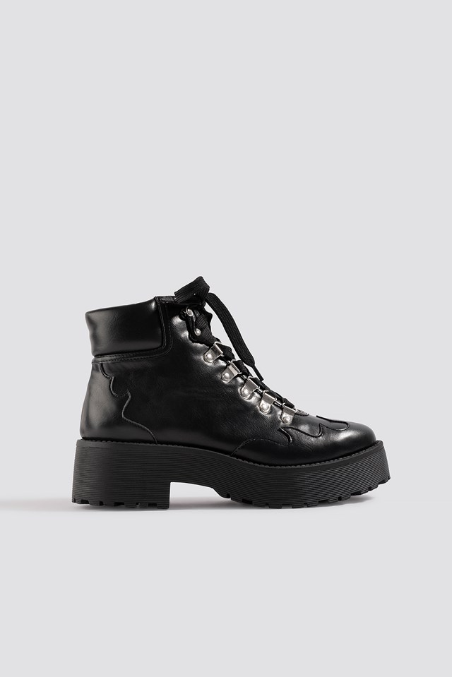 Cleated Western Detail Laceup Ankle Boot NA-KD Shoes