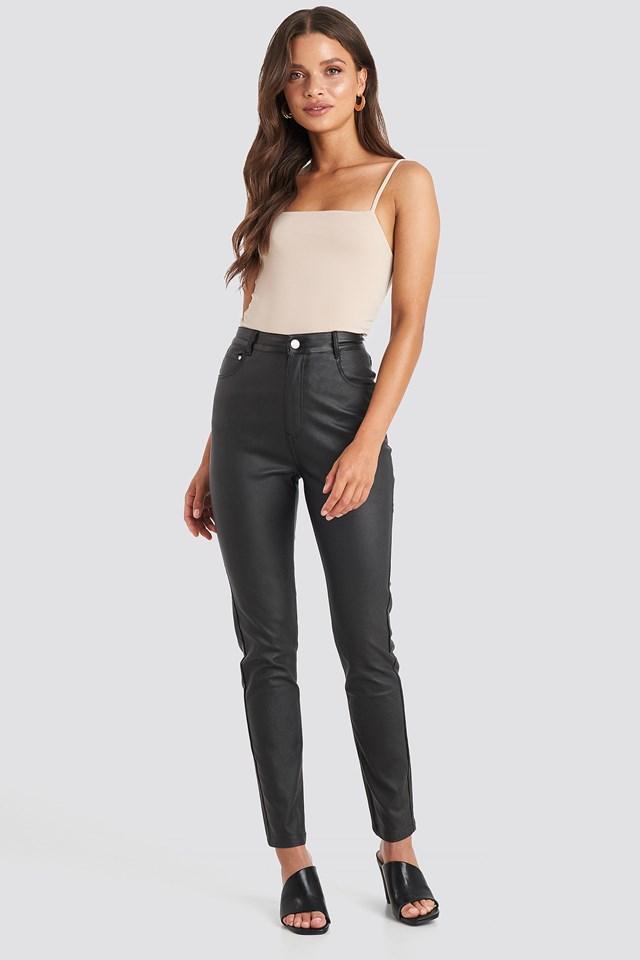 Coated Cotton Pants Black