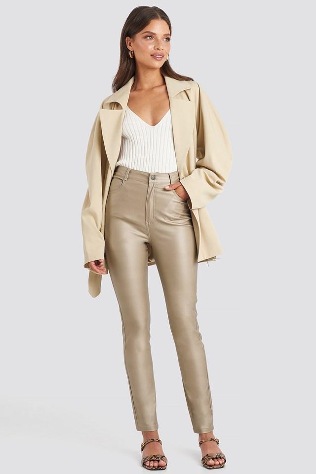 Coated Cotton Pants Beige