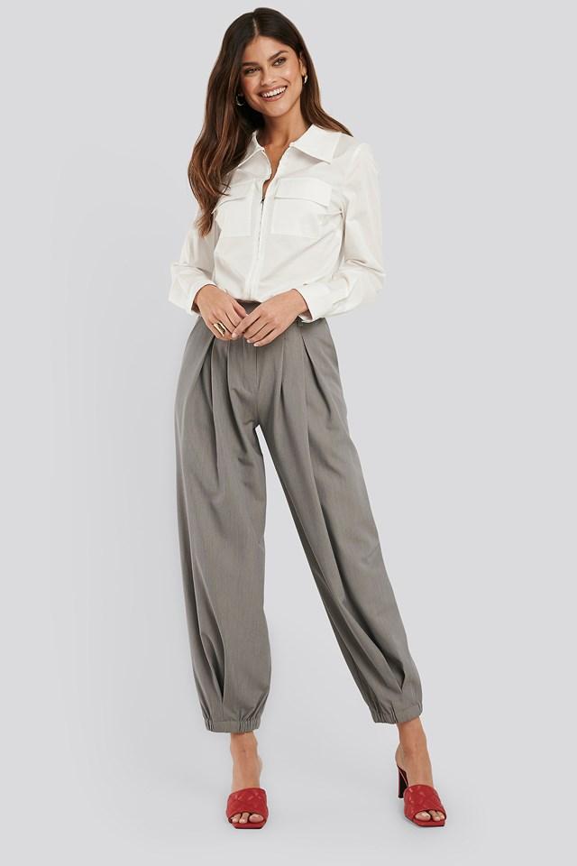 Cocoon Elastic Suit Pants Grey