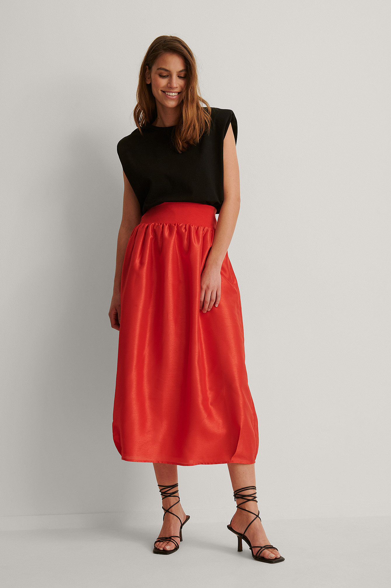 Bright Red Cocoon Shape Maxi Skirt