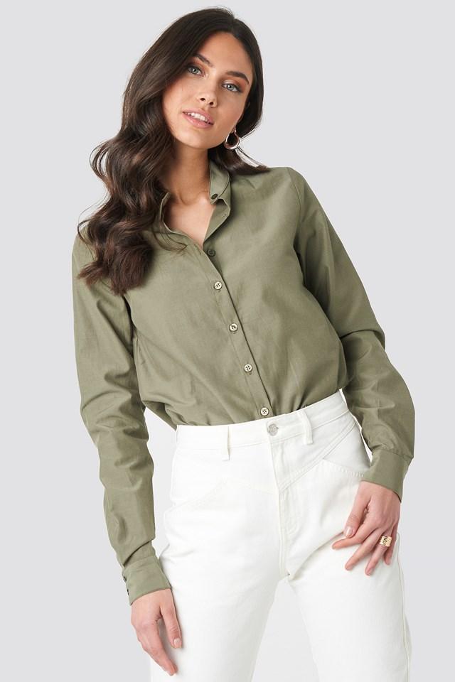 Collar Stand Long Sleeve Shirt Khaki Green