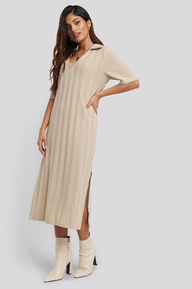 Collar V Front Knitted Dress Beige