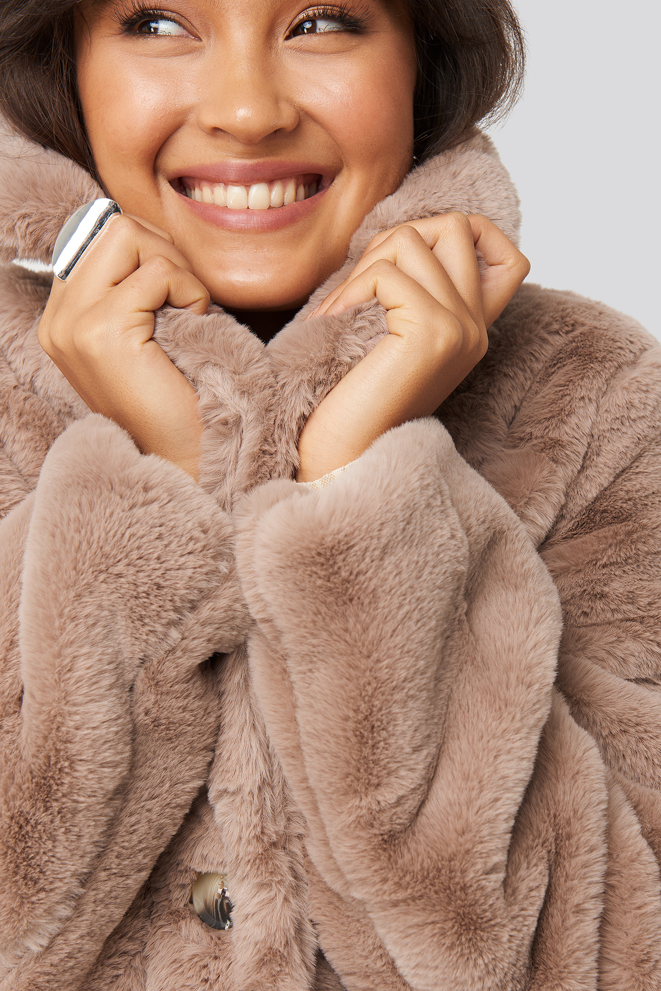 Dusty Pink Colored Faux Fur Short Coat