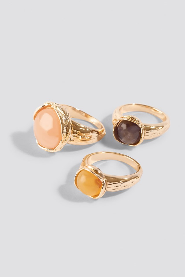 Colorful Stone Rings (3-pack) Mixed