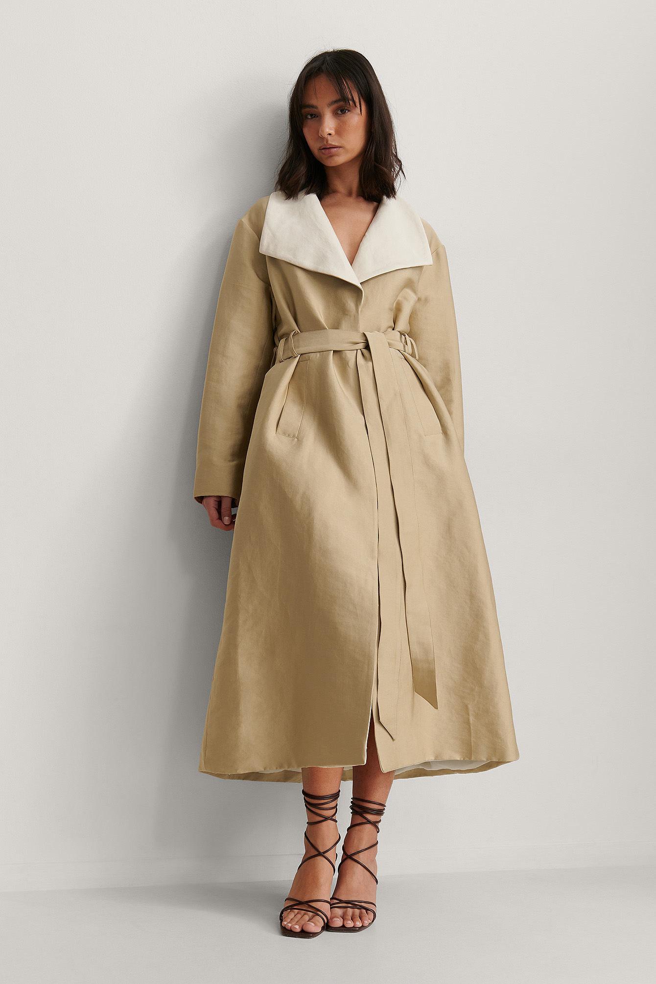 Beige Contrast Color Trench Coat