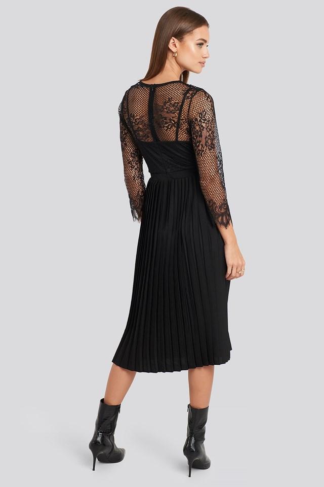 Contrast Lace Midi Dress Black