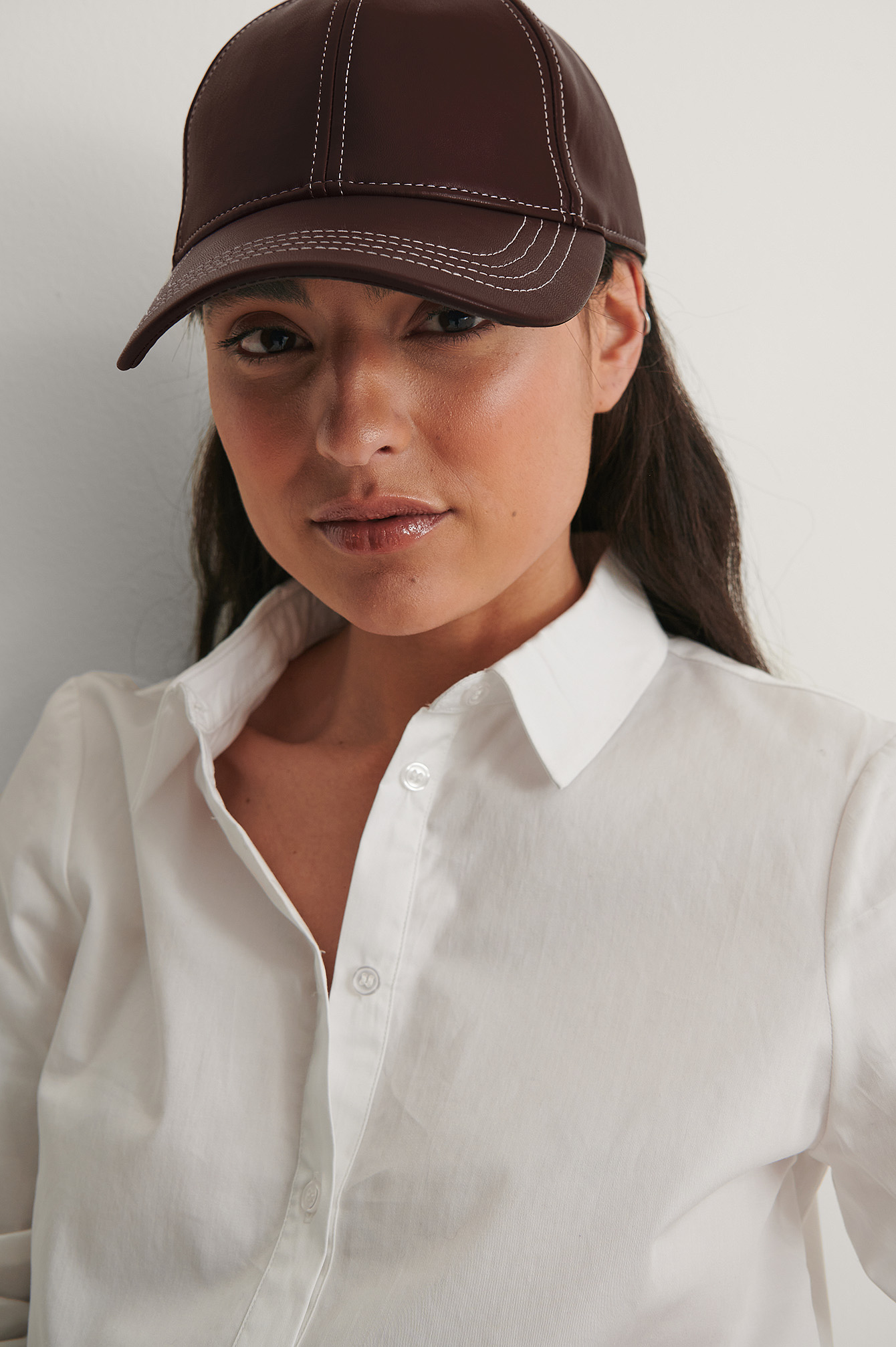 Brown Contrast Seam Cap