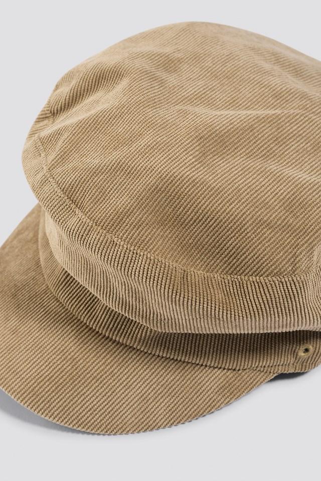 Corduroy Baker Boy Cap Beige