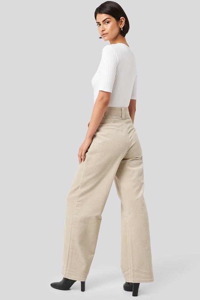 Corduroy Wide Leg Suit Pants Sand