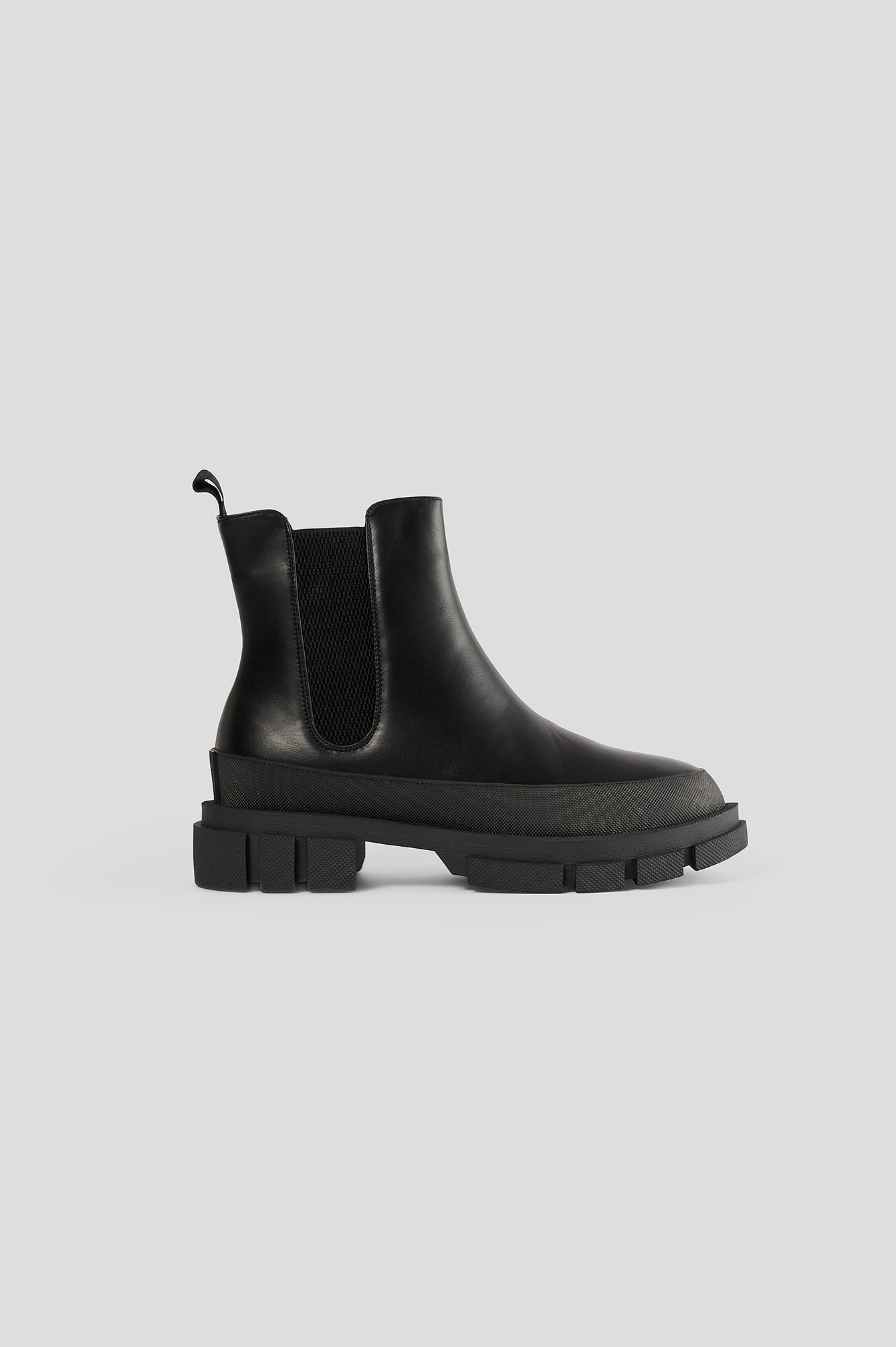 Black Covered Rubber Sole Boots