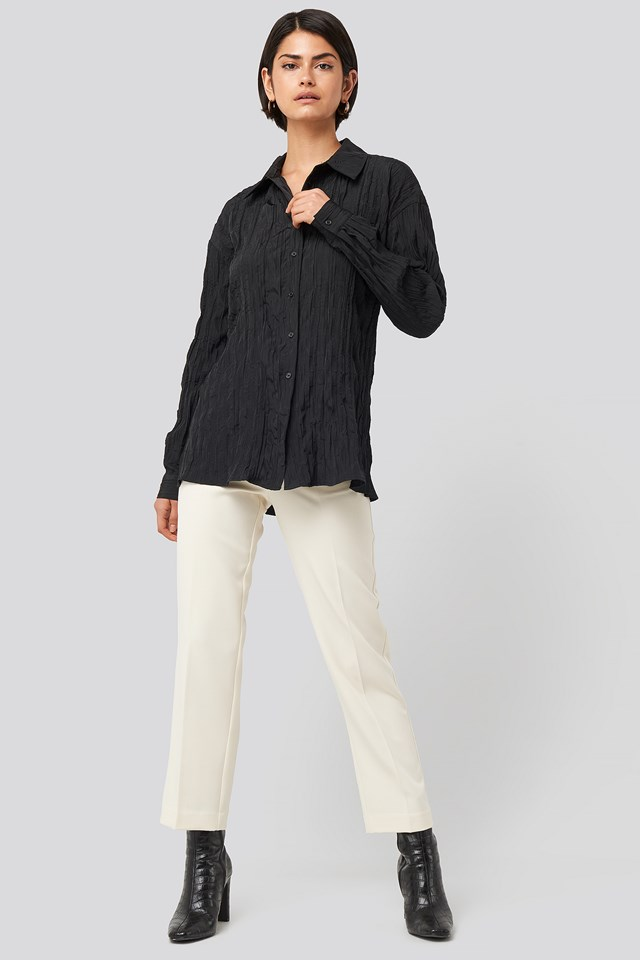 Creased Effect Blouse Black