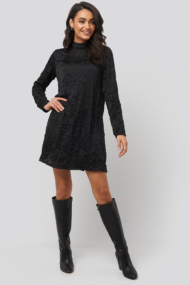 Creased Effect Long Sleeve Mini Dress Black