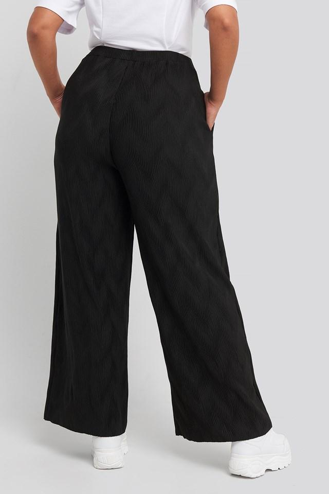 Creased Effect Loose Fit Pants Black