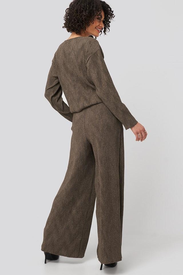 Creased Effect Loose Fit Pants Brown