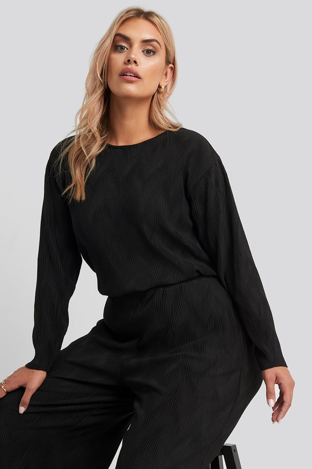 Creased Effect Round Neck Top Black