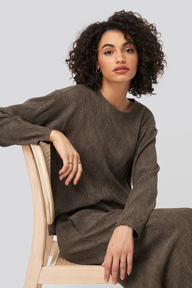 Creased Effect Round Neck Top Brown