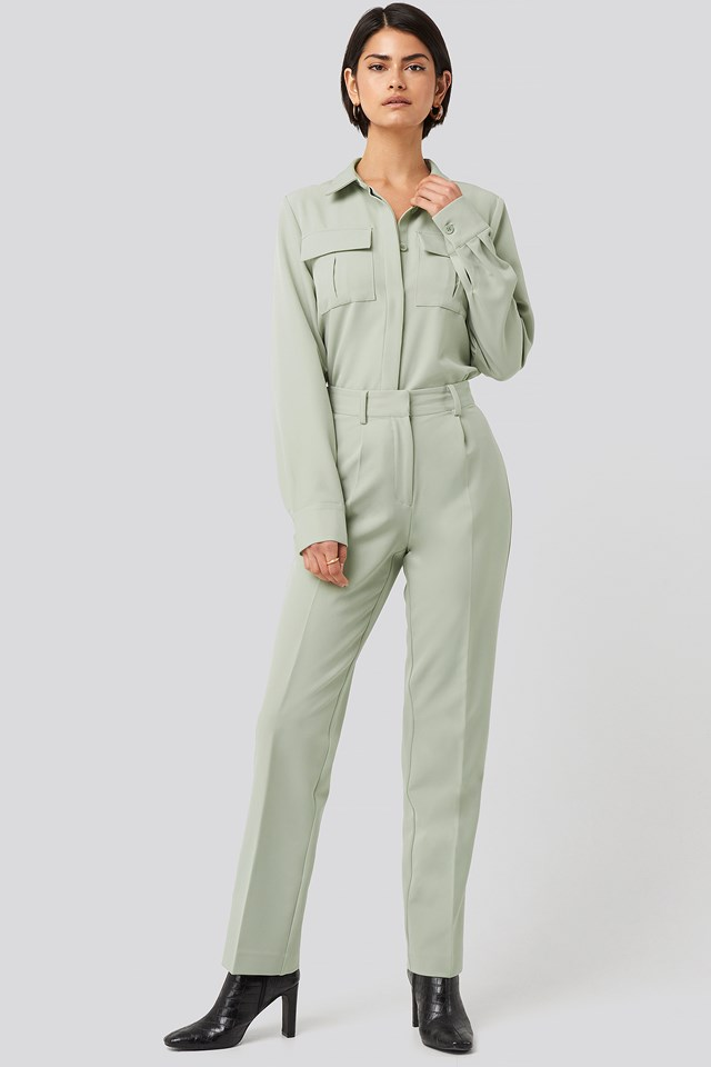 Creased Mid Rise Suit Pants Dusty Green