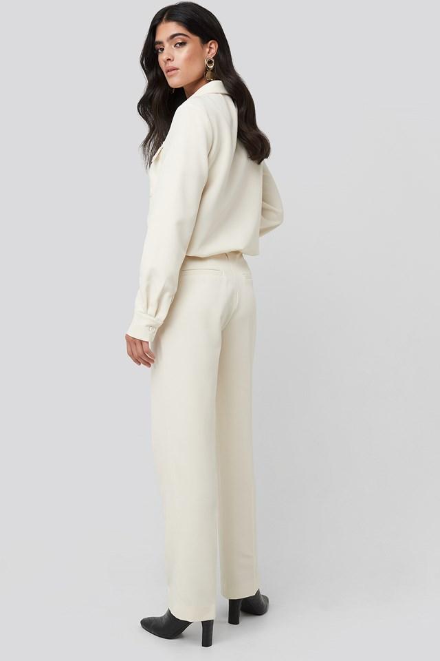 Creased Mid Rise Suit Pants Cream