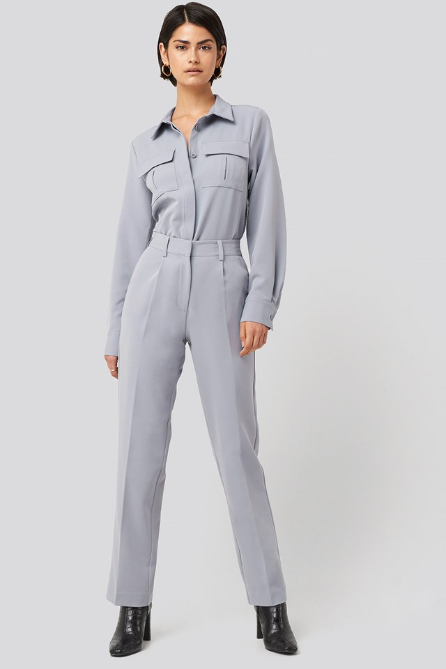 Creased Mid Rise Suit Pants NA-KD Classic