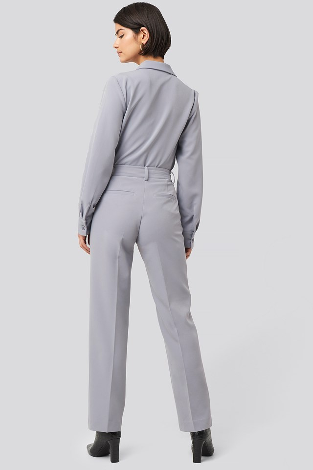 Creased Mid Rise Suit Pants Dusty Blue
