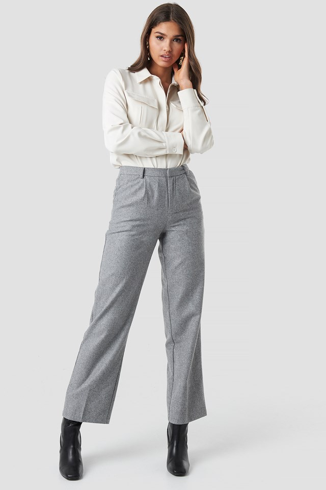 Creased Wide Leg Pants Light Grey
